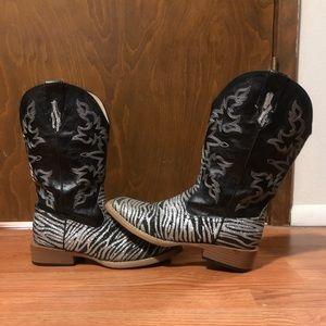 Women's glitter zebra cowboy boots